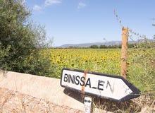 Roadpost de Binissalem del campo del girasol Fotos de archivo