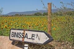 Roadpost de Binissalem del campo del girasol Imagenes de archivo