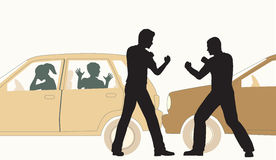 Roadrage. Editable vector illustration of two men fighting after a minor road accident Stock Photos