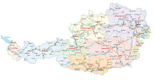 Roads and administrative map Austria Stock Photo