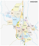 Roads, administrative and political map of the Namibian capital Windhoek. Roads, administrative and political vector map of the Namibian capital Windhoek Royalty Free Stock Photography