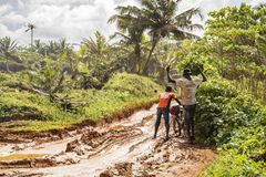 The roads in Africa are unusable during the rainy season stock photos