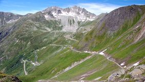 Roads in the Alps. Curly roads high in the Alps stock photography