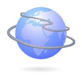Roads around the world. Illustration of planet earth with motor ways around it, related to traffic, transportation, travel, pollution, environment, vector file Royalty Free Stock Photo