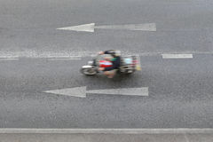 Roads and arrow symbols point to go straight ahead. Roads and arrow symbols point to go straight ahead and have Motorcycles are running Royalty Free Stock Image