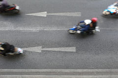 Roads and arrow symbols point to go straight ahead. Roads and arrow symbols point to go straight ahead and have Motorcycles are running Stock Photos
