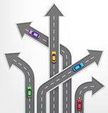 Roads Arrows Travel Background with Cars on White Stock Photo