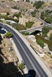 Roads and bridge over Tagus river royalty free stock photos