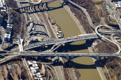 Roads and Bridges Aerial View Stock Photo
