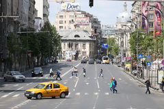 Roads in Bucharest. Traffic on the roads of Bucharest, Romania Royalty Free Stock Photos