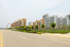 Roads, buildings and afforestation in a city Stock Images