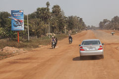Roads in Cambodia. Cambodia is one of the poorest country on the world. After US bombardment and than Red Kmher cruel regime most of the Cambodia infrastracture Stock Photo