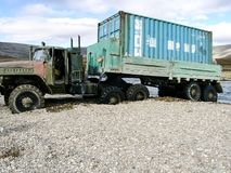 Roads Chukotka, Russia. Dirt roads and transport for northern regions stock photography