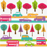 Roads with colorful cars, buses and trees Stock Photography