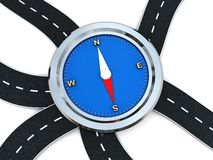 Roads and compass Royalty Free Stock Photos