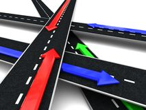 Roads cross. Abstract 3d illustration of roads with colorful arrows, directions, over white background Stock Photography