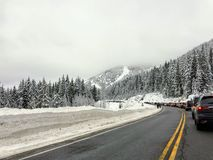 The roads of Cypress Mountain are packed with car traffic as locals and visitors look to enjoy the fresh snow royalty free stock images
