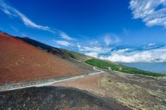 The roads of Etna mountain stock photography