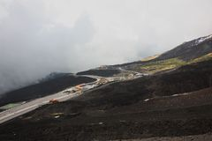 Roads of the Etna Volcano Sicily Royalty Free Stock Image