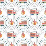 Roads and fire truck. Vector seamless background with cartoon roads and fire truck. It can be used as a pattern for textile, wrapping paper, children`s play mat Stock Images