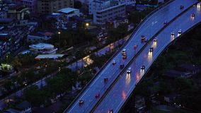 Roads and highways in Bangkok City at dusk in transportation concept, Thailand.  stock video