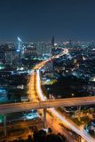 Roads and highways in Bangkok City at night in transportation. Concept, Thailand royalty free stock photography