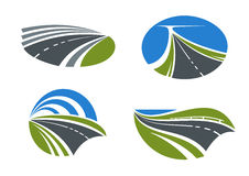 Roads and highways icons with nature landscapes Stock Photography