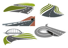 Roads and highways icons set Royalty Free Stock Photo