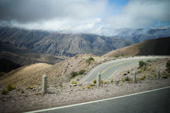 Roads II. Mountainsides of Jujuy, Argentina lined with cacti and winding roads Stock Photography