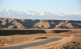 Roads of Kazakhstan steppe Stock Images