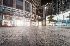 Roads between modern city buildings royalty free stock photography