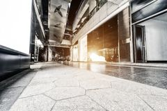 Roads between modern city buildings stock photography