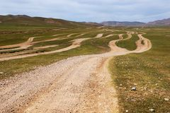 Roads in the Mongolia Royalty Free Stock Photos