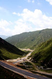 Roads among the montains. Shoot in QingHai province, china. In a mountainous area the roads have a lot of turns. Interesting driving experience Royalty Free Stock Photography