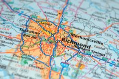 Free Roads On The Map Around Richmond City, USA, March 2018 Stock Photos - 113071983