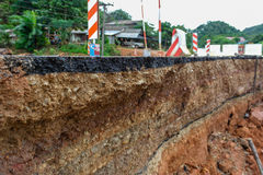 Roads are ousted by the earthquake Stock Photography