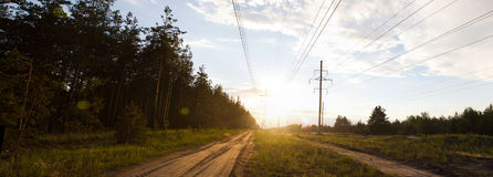 Roads panorama. In the countryside Royalty Free Stock Photo