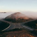 Roads passing hills Royalty Free Stock Images