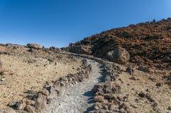 Roads and rocky lava of volcano Teide Stock Photo