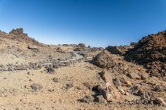 Roads and rocky lava of volcano Teide Stock Image