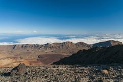 Roads and rocky lava of volcano Teide Stock Photos