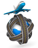 Roads round globe and airplane on white background. 3D image Stock Photography