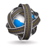 Roads round globe on white background. 3D image Royalty Free Stock Photography