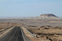 Roads through the Sahara in Egypt Royalty Free Stock Photos