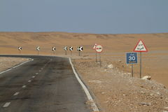 Roads through the Sahara in Egypt Stock Photos