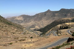 Roads and serpentines through the mountains of Ethiopia Royalty Free Stock Image