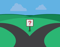 Roads Split Question Sign Royalty Free Stock Photo
