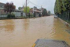 Roads submerged by the mud of the flood after the flooding of th Royalty Free Stock Photography