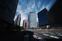Roads and tall buildings in Tokyo royalty free stock photos