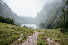 Roads to a beautiful lake which was surrounded by mountains and trees. Royalty Free Stock Images